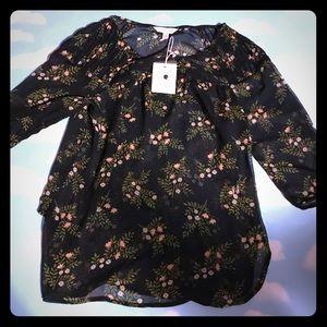 Lauren Conrad sheer black peasant top blouse